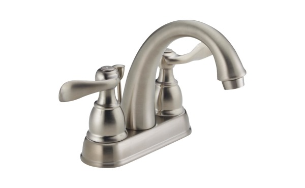 Delta Windmere Brushed Nickel 2-Handle Lever 4 In. Centerset Bathroom Faucet with Pop-Up