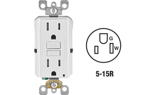Leviton SmartlockPro Self-Test 15A White Commercial Grade Tamper Resistant 5-15R GFCI Outlet